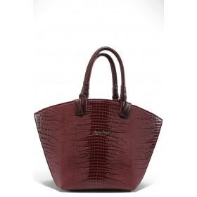 Дамска чанта - висококачествена еко-кожа - бордо - EO-7818