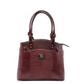 Дамска чанта - висококачествена еко-кожа - бордо - EO-7817