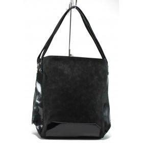 Дамска чанта - еко кожа-лак - черни - EO-7823