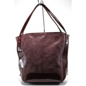 Дамска чанта - еко кожа-лак - бордо - EO-7822