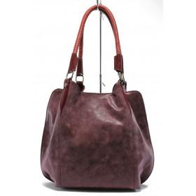 Дамска чанта - висококачествена еко-кожа - бордо - EO-7825