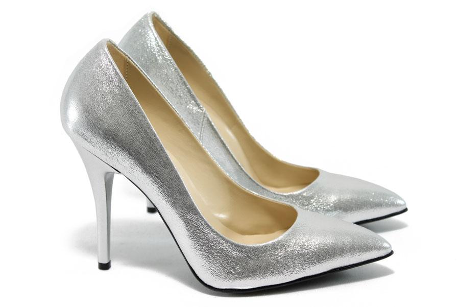 Дамски обувки на висок ток - висококачествена еко-кожа - сребро - EO-5858