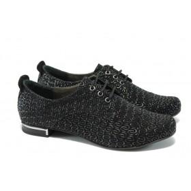 Дамски обувки на среден ток - естествена кожа - черни - EO-5862