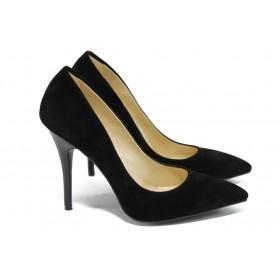 Дамски обувки на висок ток - висококачествен еко-велур - черни - EO-5860