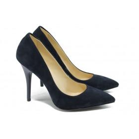 Дамски обувки на висок ток - висококачествен еко-велур - сини - EO-5861