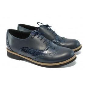Равни дамски обувки - естествена кожа - сини - EO-5890