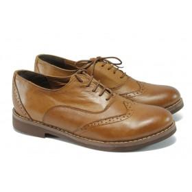Равни дамски обувки - естествена кожа - кафяви - EO-5891