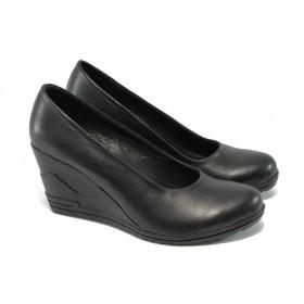 Дамски обувки на платформа - естествена кожа - черни - EO-5884