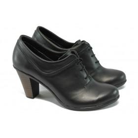 Дамски обувки на среден ток - естествена кожа - черни - EO-5885