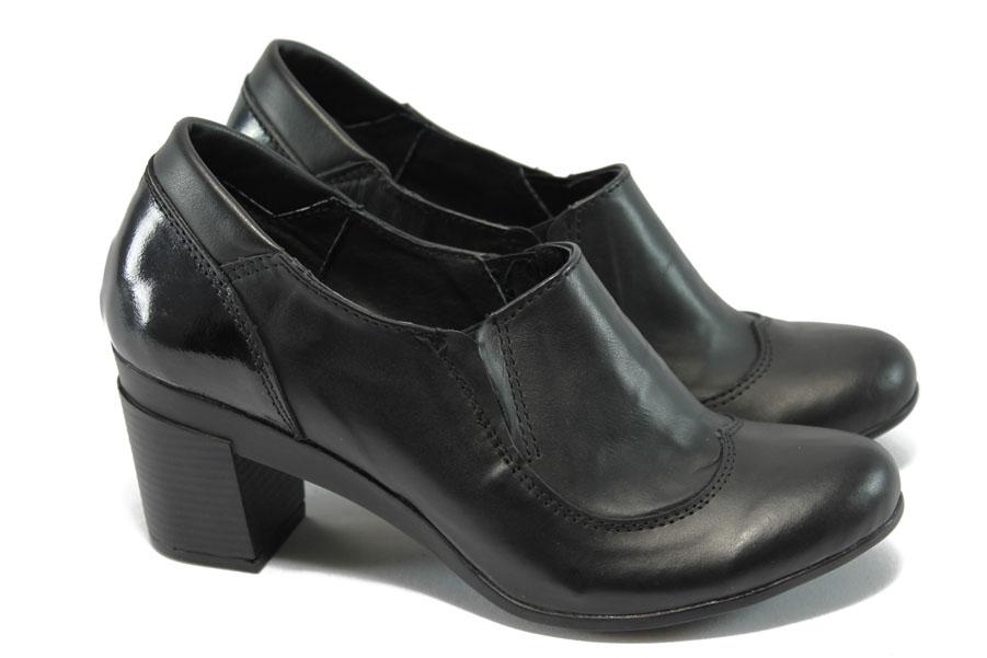 Дамски обувки на среден ток - естествена кожа - черни - EO-5886