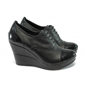 Дамски обувки на платформа - естествена кожа - черни - НЛ 146-10383 черен