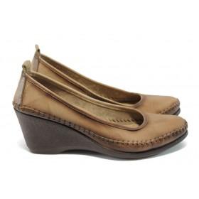 Дамски обувки на платформа - естествена кожа - бежови - EO-5930
