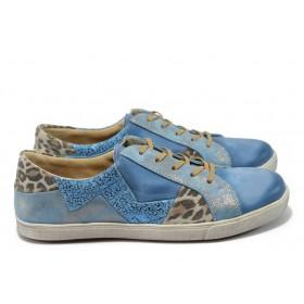 Равни дамски обувки - естествена кожа - сини - EO-5969