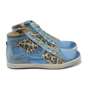 Равни дамски обувки - естествена кожа - сини - EO-5970