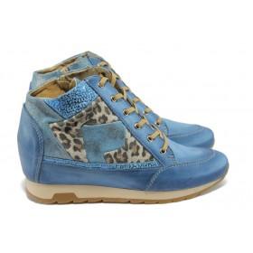 Дамски обувки на платформа - естествена кожа - сини - EO-6024