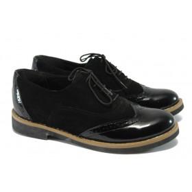 Равни дамски обувки - естествен велур с естествен лак - черни - EO-7929
