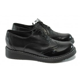 Равни дамски обувки - естествена кожа - черни - EO-6018