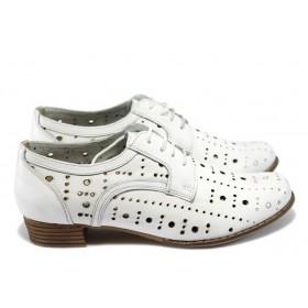Дамски обувки на среден ток - естествена кожа с перфорация - бели - EO-6130
