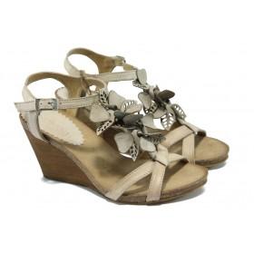 Дамски сандали - естествена кожа - бежови - EO-4387
