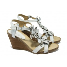 Дамски сандали - естествена кожа - бели - EO-6184