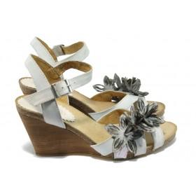 Дамски сандали - естествена кожа - бели - EO-6183