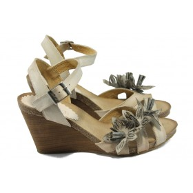 Дамски сандали - естествена кожа - бежови - EO-6166