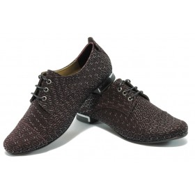 Равни дамски обувки - естествена кожа - бордо - EO-6195