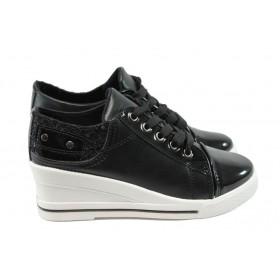 Дамски обувки на платформа - висококачествена еко-кожа - черни - EO-6203