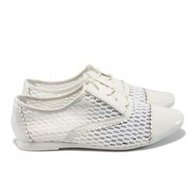 Равни дамски обувки - висококачествена еко-кожа - бели - EO-6221