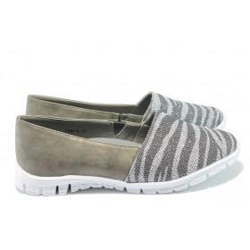 Равни дамски обувки - висококачествена еко-кожа - сиви - EO-6213