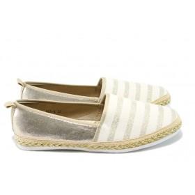 Равни дамски обувки - висококачествена еко-кожа - бежови - EO-6222