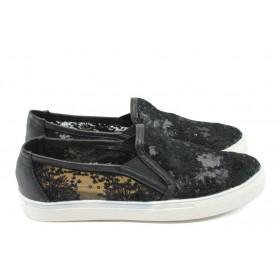 Равни дамски обувки - дантела - черни - EO-6224