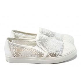 Равни дамски обувки - дантела - бели - EO-6223