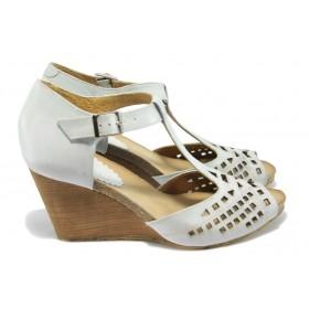 Дамски сандали - естествена кожа - бели - EO-6231