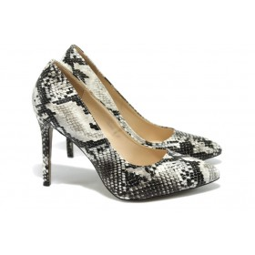 Дамски обувки на висок ток - висококачествена еко-кожа - черни - EO-6268