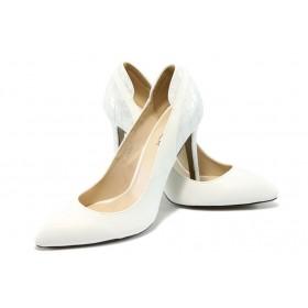 Дамски обувки на висок ток - висококачествена еко-кожа - бели - EO-6271