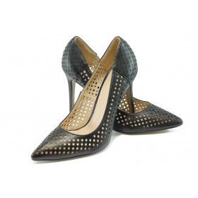 Дамски обувки на висок ток - висококачествена еко-кожа - черни - EO-6259