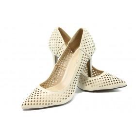 Дамски обувки на висок ток - висококачествена еко-кожа - бежови - EO-6270