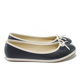 Равни дамски обувки - висококачествена еко-кожа - сини - EO-6269
