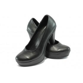 Дамски обувки на висок ток - естествена кожа - черни - EO-6289