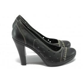 Дамски обувки на висок ток - естествена кожа с перфорация - черни - EO-6294