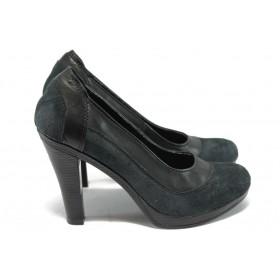 Дамски обувки на висок ток - естествена кожа - черни - EO-6288