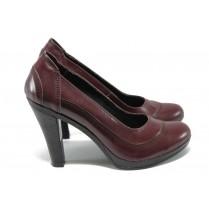 Дамски обувки на висок ток - естествена кожа - бордо - EO-6287