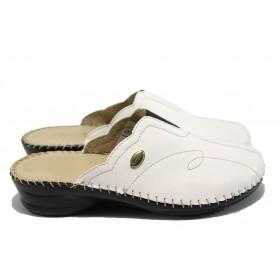Дамски чехли - висококачествена еко-кожа - бели - EO-6301