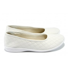 Равни дамски обувки - висококачествена еко-кожа - бели - EO-6311