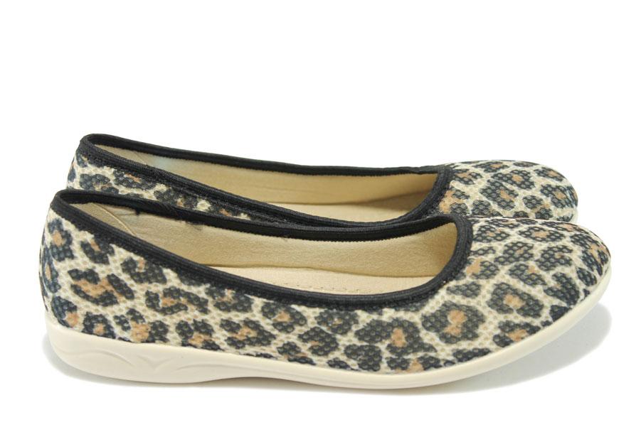 Равни дамски обувки - висококачествен текстилен материал - бежови - EO-6312