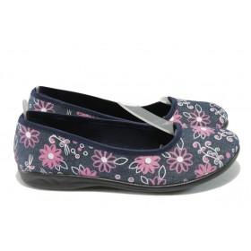 Равни дамски обувки - висококачествен текстилен материал - тъмносин - EO-6313