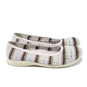 Равни дамски обувки - висококачествен текстилен материал - розови - EO-6314