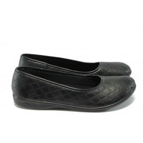 Равни дамски обувки - висококачествена еко-кожа - черни - EO-6296