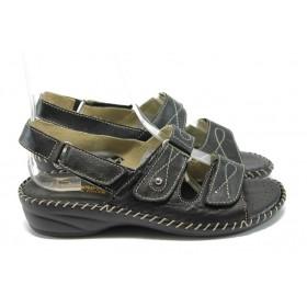 Дамски сандали - естествена кожа - черни - EO-6320
